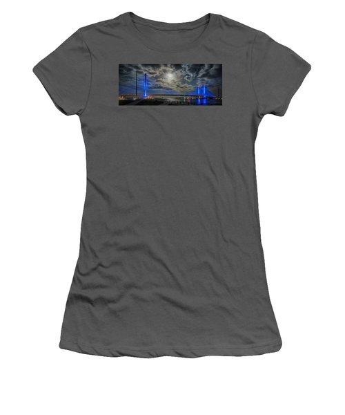 Indian River Bridge Moonlight Panorama Women's T-Shirt (Athletic Fit)