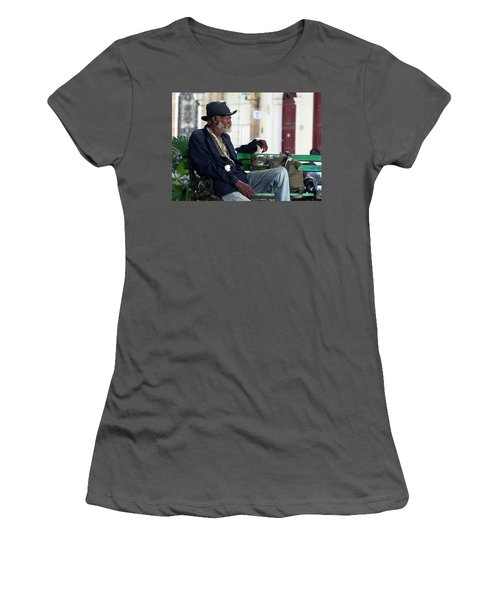 Women's T-Shirt (Junior Cut) featuring the photograph Interesting Cuban Gentleman In A Park On Obrapia by Charles Harden