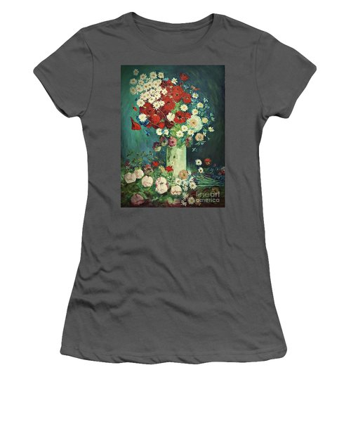 Interpretation Of Van Gogh Still Life With Meadow Flowers And Roses Women's T-Shirt (Athletic Fit)
