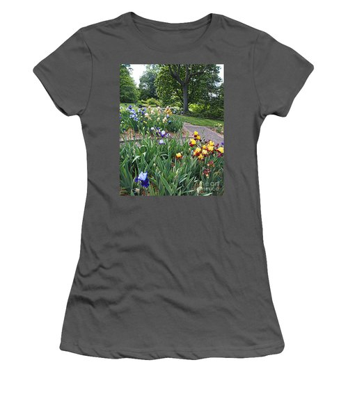 Women's T-Shirt (Junior Cut) featuring the photograph Iris With Trees by Nancy Kane Chapman
