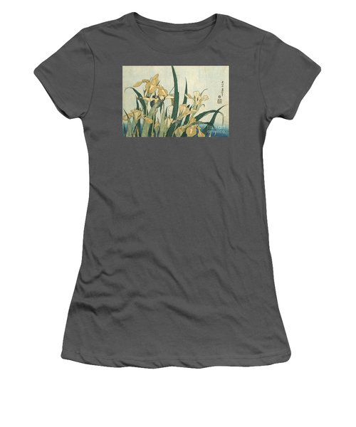 Irises With A Grasshopper Women's T-Shirt (Athletic Fit)