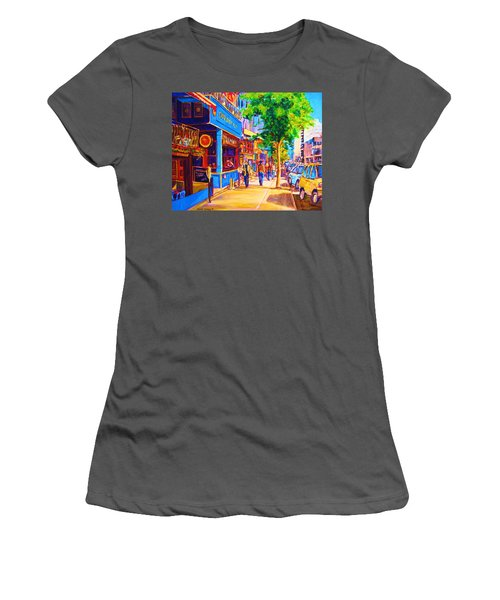 Women's T-Shirt (Junior Cut) featuring the painting Irish Pub On Crescent Street by Carole Spandau