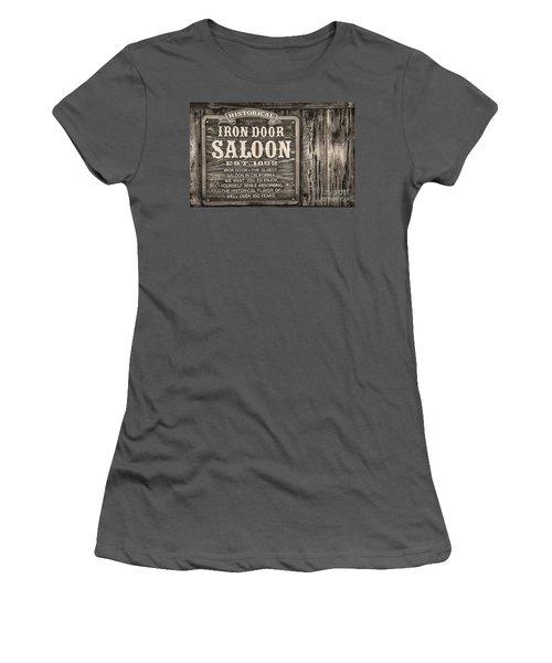 Iron Door Saloon 1852 Women's T-Shirt (Junior Cut) by David Millenheft