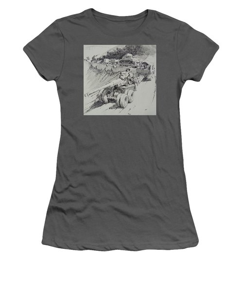 Women's T-Shirt (Junior Cut) featuring the drawing Italy 1943. by Mike Jeffries