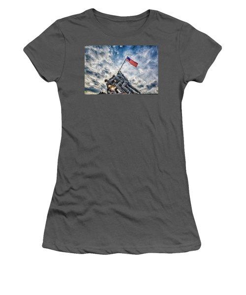 Iwo Jima Memorial Women's T-Shirt (Junior Cut) by Susan Candelario