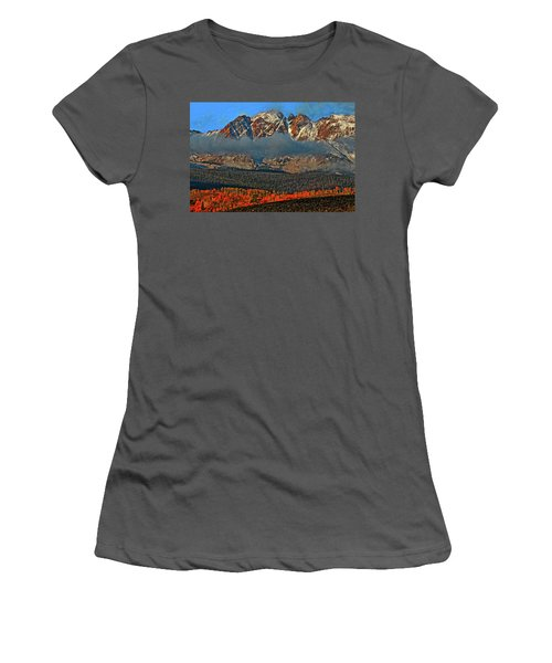 Women's T-Shirt (Junior Cut) featuring the photograph Jagged Peaks Fall by Scott Mahon