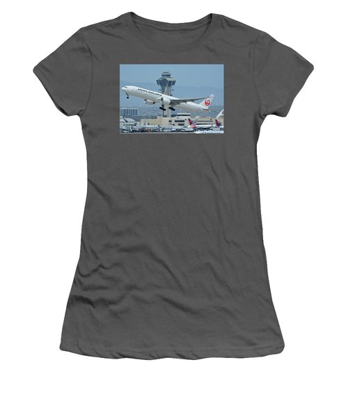 Women's T-Shirt (Junior Cut) featuring the photograph Japan Airlines Boeing 777-346er Ja737j Los Angeles International Airport May 3 2016 by Brian Lockett