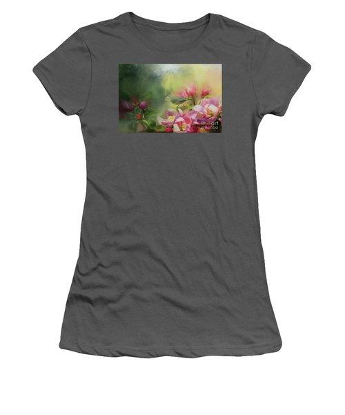Japanese White-eye On A Blooming Tree Women's T-Shirt (Junior Cut) by Eva Lechner