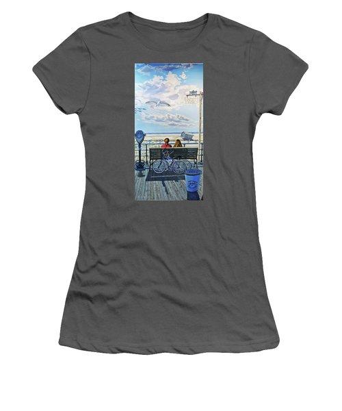Jones Beach Boardwalk Towel Version Women's T-Shirt (Athletic Fit)