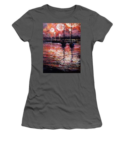 July Fourth Fireworks On The Hudson Women's T-Shirt (Athletic Fit)