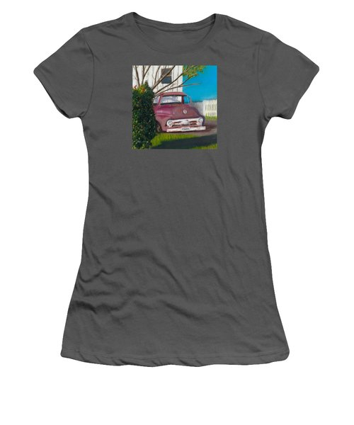Women's T-Shirt (Junior Cut) featuring the painting Just Up The Road by Arlene Crafton