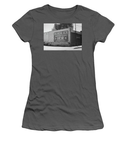 Women's T-Shirt (Junior Cut) featuring the photograph Kansas City Ghost Mural Bw by Frank Romeo