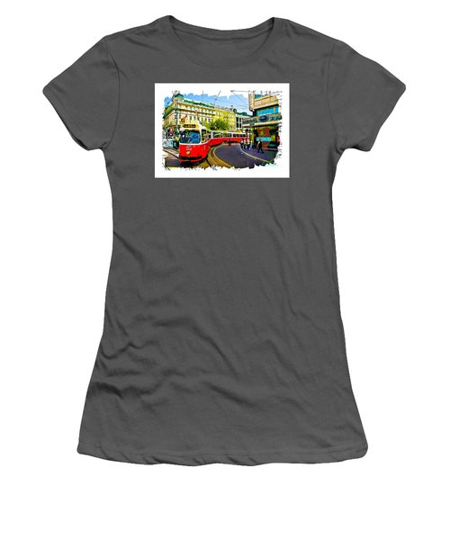 Women's T-Shirt (Junior Cut) featuring the photograph Kartner Strasse - Vienna by Tom Cameron