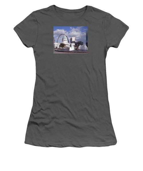 Women's T-Shirt (Junior Cut) featuring the photograph Kiener Plaza - St Louis by Harold Rau