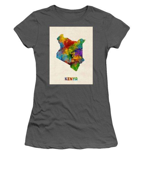 Women's T-Shirt (Junior Cut) featuring the digital art Kenya Watercolor Map by Michael Tompsett