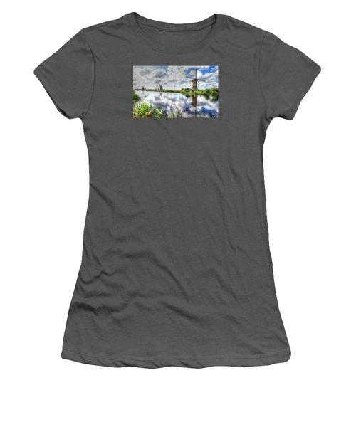 Women's T-Shirt (Junior Cut) featuring the photograph Kinderdijk by Uri Baruch