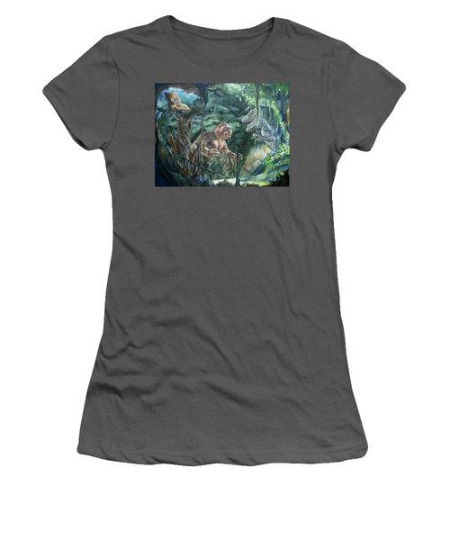 Women's T-Shirt (Junior Cut) featuring the painting King Kong Vs T-rex by Bryan Bustard