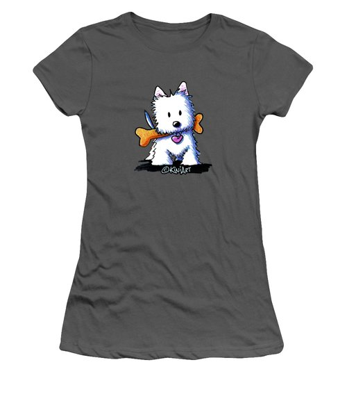 Kiniart Westie With Bone Women's T-Shirt (Athletic Fit)