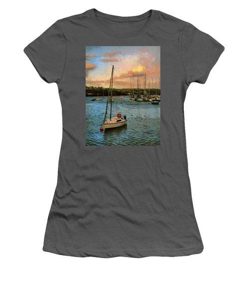 Women's T-Shirt (Junior Cut) featuring the painting Kinsale Harbour Evening by Jeff Kolker