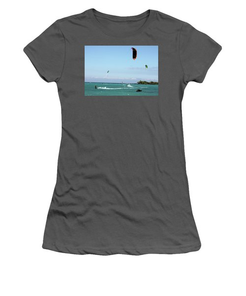 Kite Surfers And Maui Women's T-Shirt (Junior Cut) by Karen Nicholson