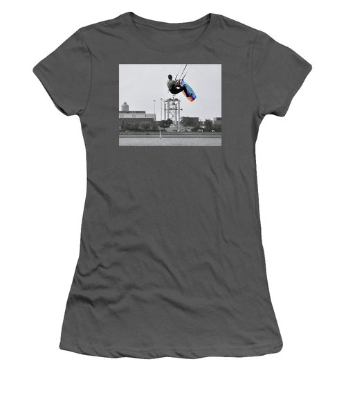 Kitesurfer Catching Air Women's T-Shirt (Junior Cut) by Joanne Brown