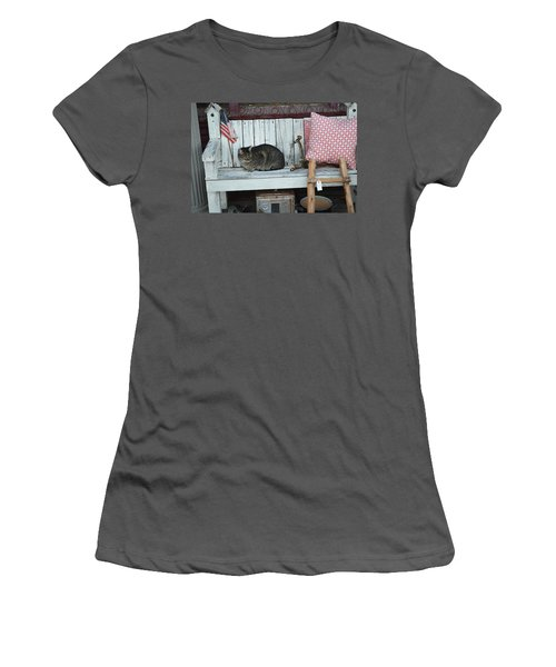 Women's T-Shirt (Junior Cut) featuring the photograph Kitty The Antique Dealer by Carolina Liechtenstein