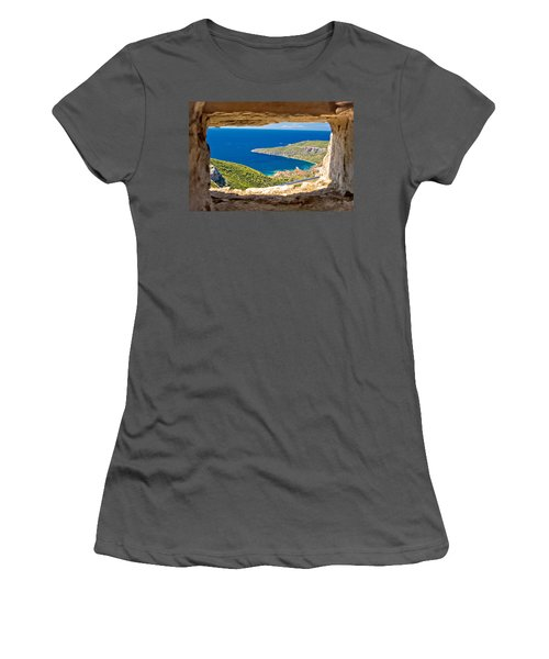 Komiza Bay Aerial View Through Stone Window Women's T-Shirt (Athletic Fit)