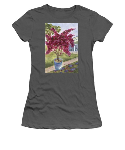 Women's T-Shirt (Athletic Fit) featuring the painting Kona Bougainvillea by Jamie Frier