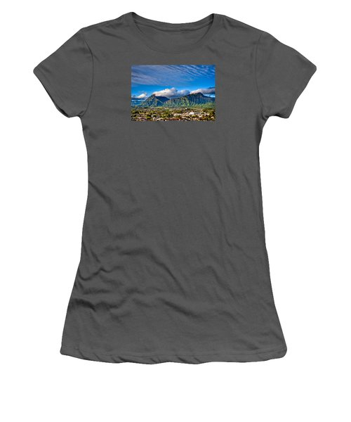Women's T-Shirt (Junior Cut) featuring the photograph Koolau And Pali Lookout From Kanohe by Dan McManus