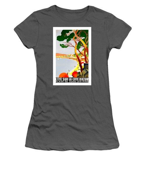 La Cote D Azur French Riviera 1930 Roger Broders Women's T-Shirt (Athletic Fit)