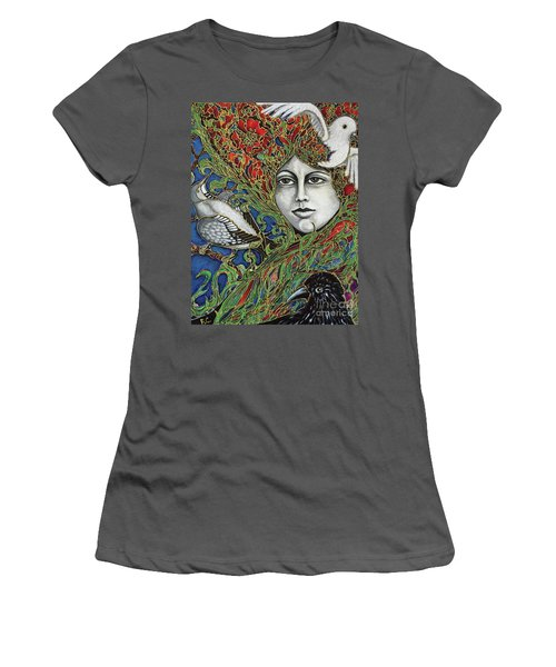 Women's T-Shirt (Junior Cut) featuring the painting Ladybird by Rae Chichilnitsky