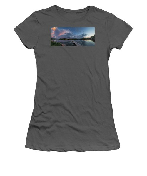 Women's T-Shirt (Athletic Fit) featuring the photograph Lake Alvin Supercell by Aaron J Groen
