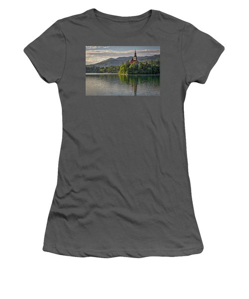 Women's T-Shirt (Athletic Fit) featuring the photograph Lake Bled Morning #2 - Slovenia by Stuart Litoff