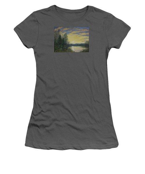 Women's T-Shirt (Junior Cut) featuring the painting Lake Dawn by Kathleen McDermott
