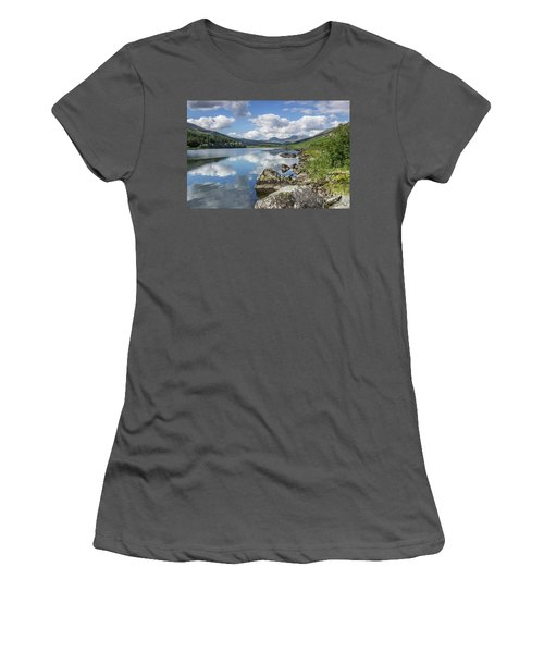 Lake Mymbyr And Snowdon Women's T-Shirt (Junior Cut) by Ian Mitchell