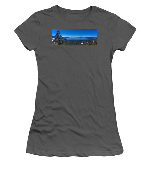 Women's T-Shirt (Junior Cut) featuring the photograph Lake Tahoe Spring Overlook Panoramic by Scott McGuire