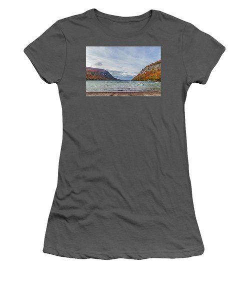 Lake Willoughby Blustery Fall Day Women's T-Shirt (Junior Cut) by Tim Kirchoff