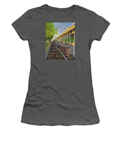Women's T-Shirt (Junior Cut) featuring the painting Lambertville Station by Val Miller