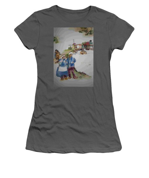 Land Of Windmill Clogs  And Tulips Album Women's T-Shirt (Junior Cut) by Debbi Saccomanno Chan