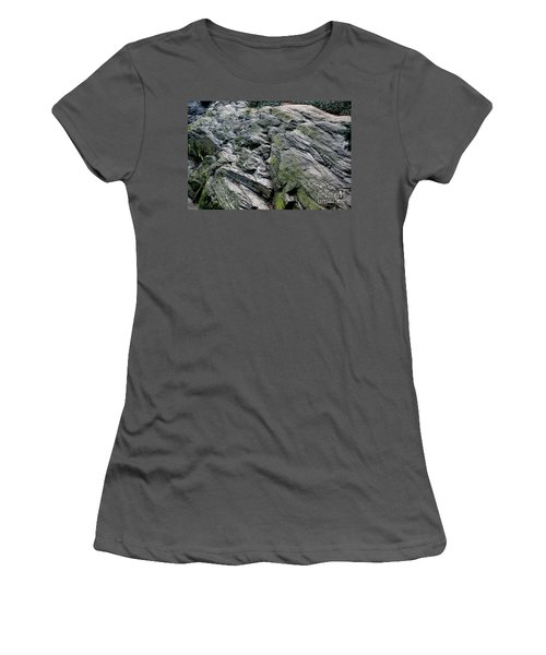 Large Rock At Central Park Women's T-Shirt (Junior Cut) by Sandy Moulder