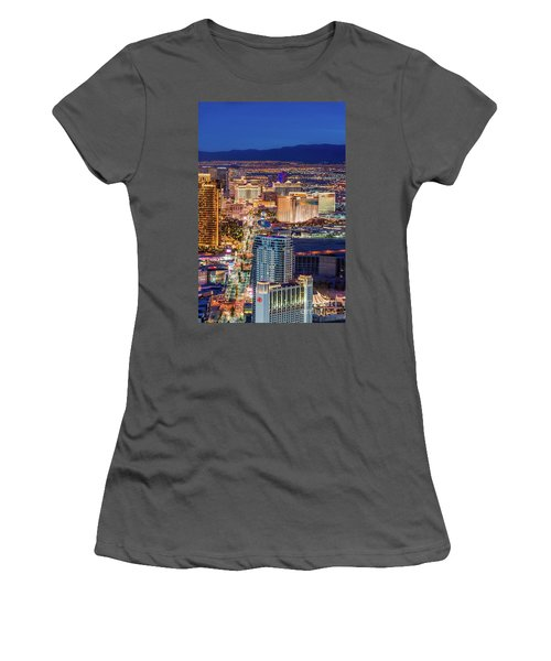 Women's T-Shirt (Junior Cut) featuring the photograph Las Vegas Strip From The Stratosphere Tower by Aloha Art