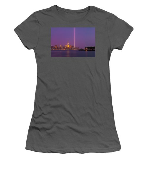 Laser Twin Towers In New York City Women's T-Shirt (Junior Cut) by Ranjay Mitra