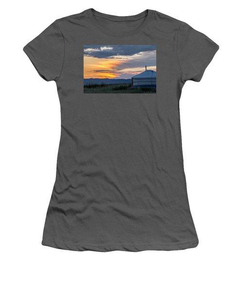 Women's T-Shirt (Junior Cut) featuring the photograph Last Golden Light, Elsen Tasarkhai, 2016 by Hitendra SINKAR