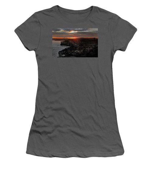 Women's T-Shirt (Athletic Fit) featuring the photograph Last Light Over North Head Sydney by Miroslava Jurcik