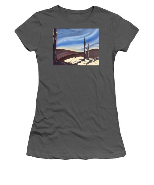 Women's T-Shirt (Junior Cut) featuring the painting Last Snow by Pat Purdy