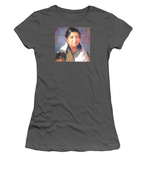 Lata Mangeshkar  Women's T-Shirt (Junior Cut) by Wayne Pascall