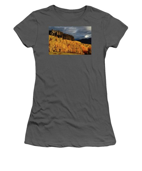 Women's T-Shirt (Junior Cut) featuring the photograph Late Afternoon Light On The Cliffs Near Silver Jack Reservoir In Autumn by Jetson Nguyen
