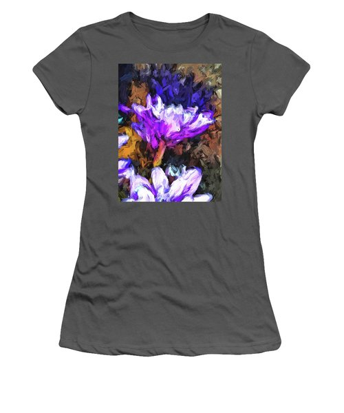 Lavender And White Flower With Reflection Women's T-Shirt (Athletic Fit)