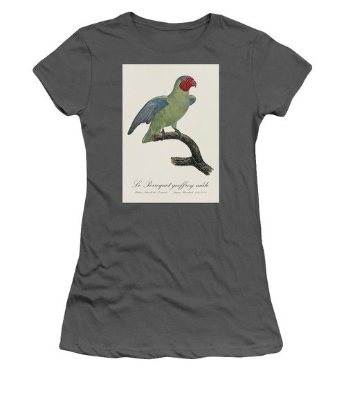 Le Perroquet Geoffroy Male / Red Cheeked Parrot - Restored 19th C. By Barraband Women's T-Shirt (Junior Cut) by Jose Elias - Sofia Pereira