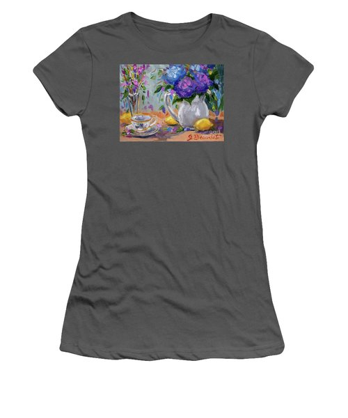 Women's T-Shirt (Junior Cut) featuring the painting Lemons And Purple  by Jennifer Beaudet